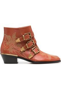 Chloé Ankle Boot Susanna Com Tachas - Marrom