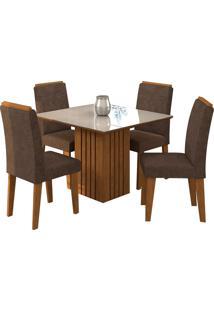 Conjunto De Mesa Com 4 Cadeiras Para Sala De Jantar 95X95 Ana/Tais-Cimol - Savana / Off White / Cacau