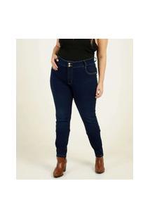 Calça Plus Size Jeans Skinny Feminina Botões