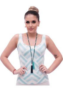 Regata Ficalinda Estampa Exclusiva Summer Ikat Tiffany Decote Redondo - Tricae