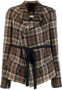 High By Claire Campbell Checked Cropped Jacket - Marrom