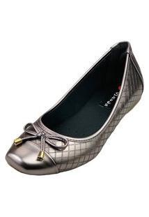 Sapatilha Bico Quadrado Love Shoes Confort Matelasse Laçinho Metalizado Grafite