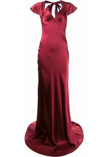Katharine Hamnett London Vestido Longo Lake De Seda - Vermelho