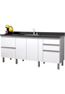 Gabinete Para Cozinha Em Mdf Tupã 174Cm Branco E Preto