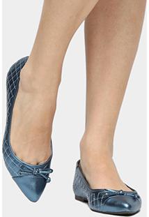 Sapatilha Shoestock Matelassê Bico Fino Feminina - Feminino-Marinho