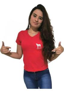 Camiseta Gola V Cellos Howled Premium Feminina - Feminino-Vermelho