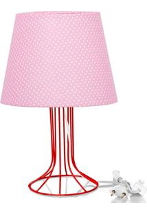Abajur Torre Dome Rosa/Bolinha Com Aramado Vermelho
