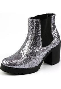 Bota Madame Louise Ankle Boot Gltiter Prata