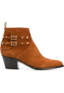 Valentino Garavani Ankle Boot Cowboy Rockstud - Marrom