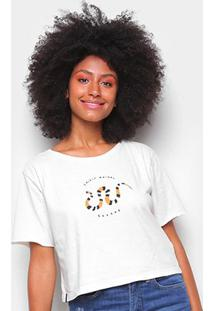 Camiseta Cantão Babylook Cropped Cobra Feminina - Feminino-Off White