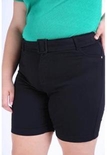 Bermuda Kauê Plus Size Sarja Cinto Feminina - Feminino-Preto