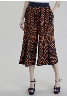Calça Pantacourt Gig Couture Em Jacquard De Tricô Abstrato Azul Marinho