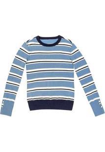 Blusão Feminino Em Tricô Fio Tinto Listrado Azul