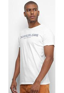 Camiseta Calvin Klein Jeans Manga Curta Masculina - Masculino-Branco