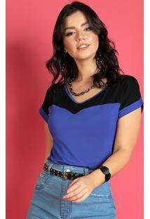 Blusa Preto E Azul Com Recorte No Decote