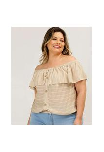 Blusa Plus Size Feminina Ciganinha Listrada Marisa