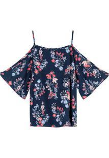 Blusa Azul Marinho Floral Com Abertura