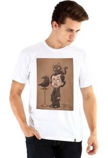 Camiseta Ouroboros Manga Curta Edgar Allan Poe - Masculino-Branco