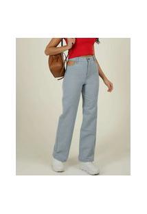 Calça Jeans Wide Leg Feminina Cut Out