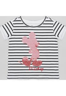Blusa Infantil Mickey Listrada Com Paetê Dupla Face Manga Curta Decote Redondo Off White