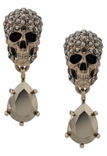 Alexander Mcqueen Skull Drop Pendant Earrrings - Prateado