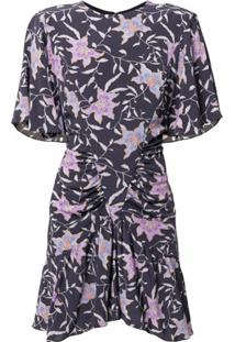 Isabel Marant Étoile Vestido Floral Com Franzido - Roxo