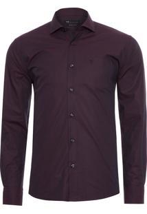 Camisa Masculina Regular - Vinho