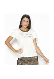Camiseta Fashion4You Manga Curta Ysl Branca Branco