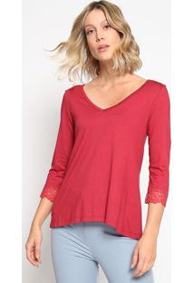 Blusa Lisa Com Tule Bordado - Vermelha - Thiptonthipton