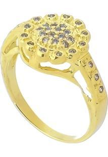 Anel Flor Trabalhado Em Zircônia 3Rs Semijoias Dourado