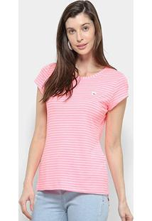 Camiseta Coca Cola Listrada Feminina - Feminino-Rosa