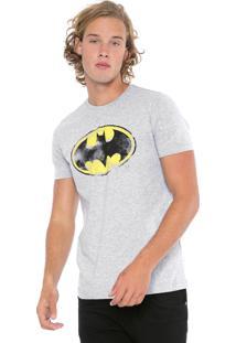 Camiseta Sideway Dc Comics Manga Curta Batman Cinza