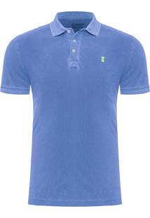 Polo Masculina Básica Washed - Azul