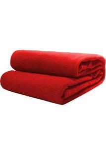 Cobertor Casal Microfibra Liso Vermelho