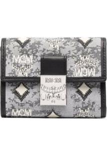 Mcm Carteira Mini Com Monogramada Vintage De Jacquard - Cinza