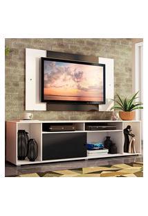 Rack Madesa Cancun E Painel Para Tv Até 58 Polegadas - Branco/Preto 7373 Branco