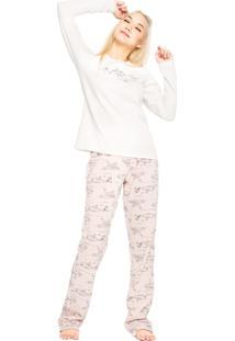 Pijama Cor Com Amor Friends Branco/Rosa