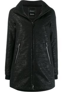 Herno Zipped Hooded Raincoat - Preto