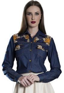 Camisete Jeans Com Guipir Via Karuso Moda Evangélica
