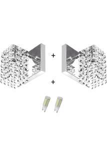 2X Arandelas Cristal Leg. Clearcast + Lã¢Mpadas 6000K Branca - Prata - Dafiti