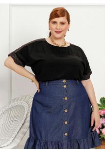 Blusa Plus Size Preta Com Recorte De Brilho