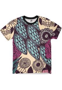 Camiseta Bsc Caveira Pluma Full Print - Masculino-Azul