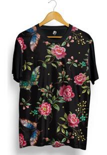 Camiseta Bsc Butterfly On Dark Leaves Full Print - Masculino