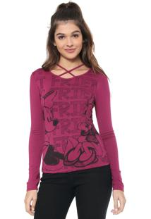 Blusa Cativa Disney Minnie E Margarida Roxa
