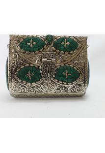 Clutch Crisfael Acessórios Metal Verde