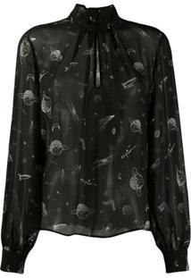 Pinko Blusa Com Estampa De Espaço - Preto