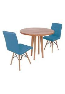 Conjunto Mesa De Jantar Em Madeira 90Cm Com Base Vértice + 2 Cadeiras Gomos - Turquesa