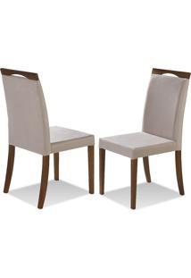 Cadeira De Jantar Luna Com Cabeceira - Kit Com 2 Peças Castanho Claro - Tecido Bege Claro Em Madeira Maciça