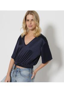 Blusa Cropped Com Elástico- Azul Escuro- Tritontriton