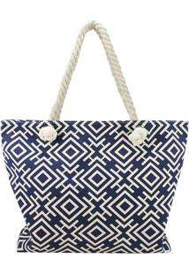 Bolsa De Praia Geométrica- Azul Marinho & Branca- 34Jacki Design